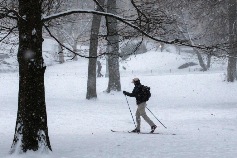 A man skis under a snowfall in Central Park during a winter storm on January 7, 2017 in New York. (Eduardo Munoz Alvarez/AFP/Getty Images)
