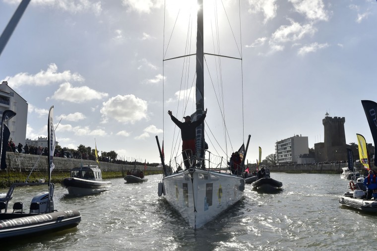 Hungarian skipper Nandor Fa celebrates as he arrives in Les Sables-d'Olonne, western France, on February 8, 2017, to place 8th in the Vendee Globe solo around-the-world sailing race. (Loic Venance/AFP/Getty Images)