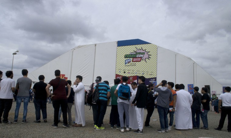 Visitors line up to enter Saudi Comic Con (SCC) which is the first event of its kind to be held in Jiddah, Saudi Arabia, Thursday, Feb. 16, 2017. (AP Photo)