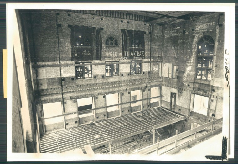 Renovations underway at Center Stage's Calvert Street location, previously Loyola High School and College, in photo dated September 11, 1975. (Baltimore Sun)