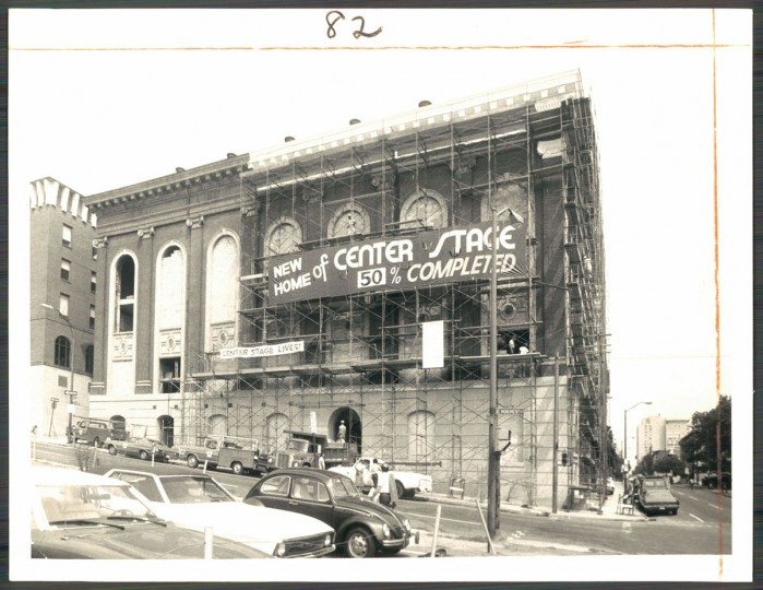 Renovations underway at Center Stage Theater, August 13, 1975. (Baltimore Sun)