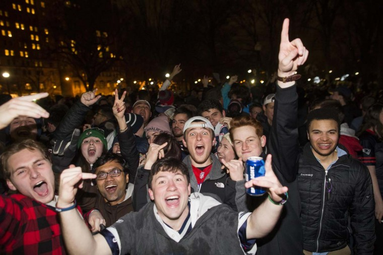 New England Patriots fans celebrate the Patriots Super Bowl victory against the Atlanta Falcons in the Boston Public Garden. February 5, 2017 in Boston, Massachusetts. (Photo by Scott Eisen/Getty Images)