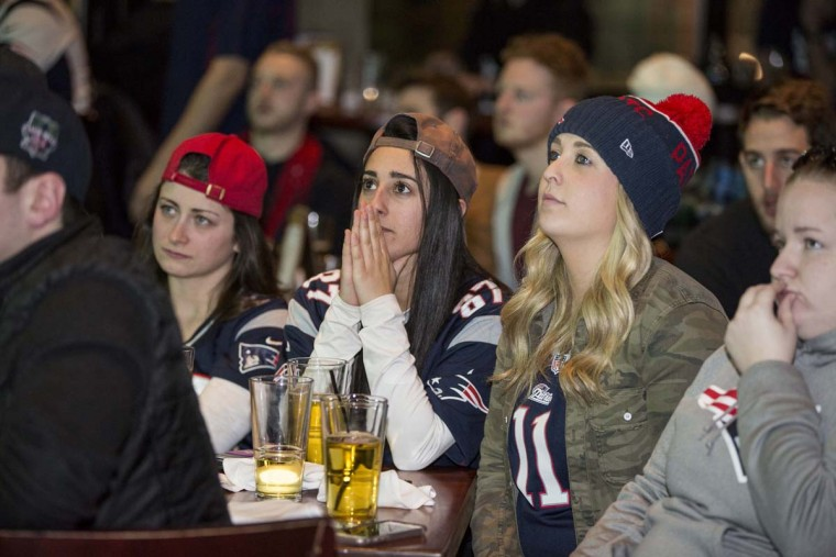 New England Patriots fans react during the second quarter of Super Bowl LI against the Atlanta Falcons at Tony C's, February 5, 2017 in Boston, Massachusetts. (Photo by Scott Eisen/Getty Images)