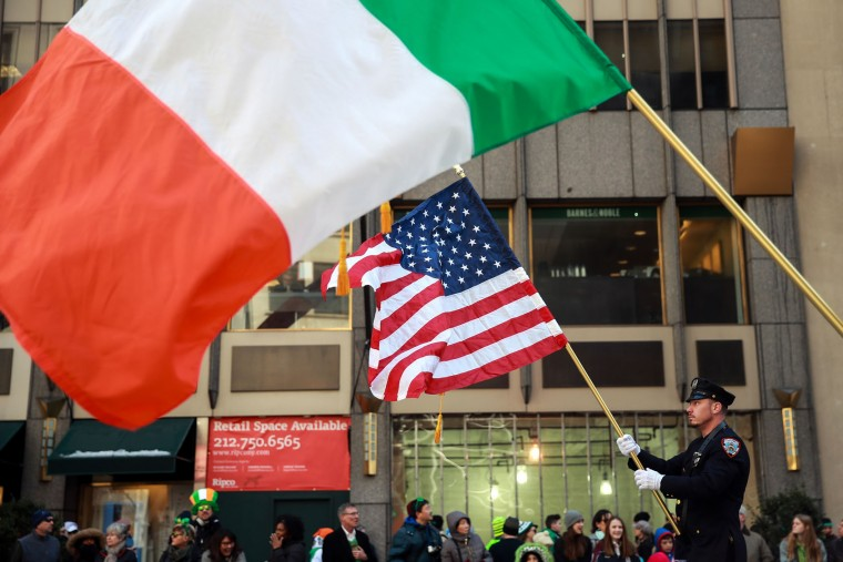 Members of the New York Department of Corrections hold American and Irish flags as they march during the annual St. Patrick's Day parade on 5th Avenue, March 17, 2017 in New York City. The New York City St. Patrick's Day parade, dating back to 1762, is the world's largest St. Patrick's Day celebration. (Photo by Drew Angerer/Getty Images)