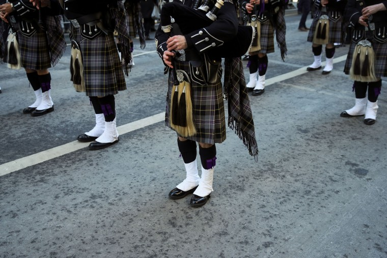Bagpipers get into formation as they prepare to march during the annual St. Patrick's Day parade on 5th Avenue, March 17, 2017 in New York City. The New York City St. Patrick's Day parade, dating back to 1762, is the world's largest St. Patrick's Day celebration. (Photo by Drew Angerer/Getty Images)
