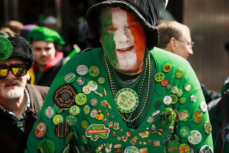 A spectator shows his Irish pride as he watches the annual St. Patrick's Day parade, March 17, 2017 in New York City. The New York City St. Patrick's Day parade, dating back to 1762, is the world's largest St. Patrick's Day celebration. (Photo by Drew Angerer/Getty Images)