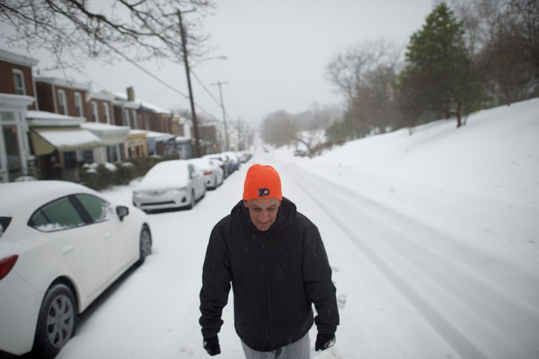 Johnny Demalavezi, 56, walks through the snow March 14, 2017 in the Roxborough area of Philadelphia, Pennsylvania. Much of the Northeast is under a state of emergency as a blizzard is expected to bring over one foot of snow and high winds to the area. (Photo by Mark Makela/Getty Images)