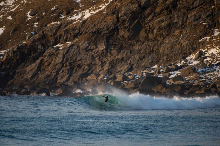 Norwegian surfer Espen Evertsen rides a wave in Unstad along the northern Atlantic Ocean on March 12, 2017. (OLIVIER MORIN/AFP/Getty Images)