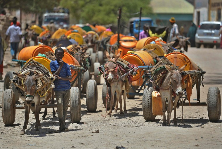 A young boy waits next to his donkey-cart to fill drums with water before selling it on March 15, 2017 in Baidoa, in the southwestern Bay region of Somalia, where the spread of cholera has claimed tens of lives of internally displaced people fleeing the parched countryside. The United Nations is warning of an unprecedented global crisis with famine already gripping parts of South Sudan and looming over Nigeria, Yemen and Somalia, threatening the lives of 20 million people. For Somalis, the memory of the 2011 famine which left a quarter of a million people dead is still fresh. (Tony Karumba/AFP/Getty Images)