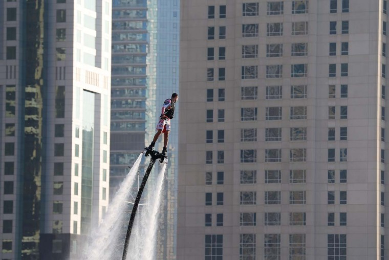 A man performs on a flyboard at the Dubai International Marine Club during the Gulf emirate's international Boat Show on February 28, 2017. (KARIM SAHIB/AFP/Getty Images)
