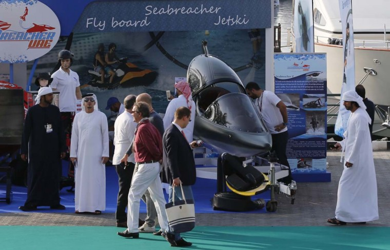 Visitors attend the Dubai international Boat Show at the Gulf emirate's International Marine Club on February 28, 2017. (KARIM SAHIB/AFP/Getty Images)