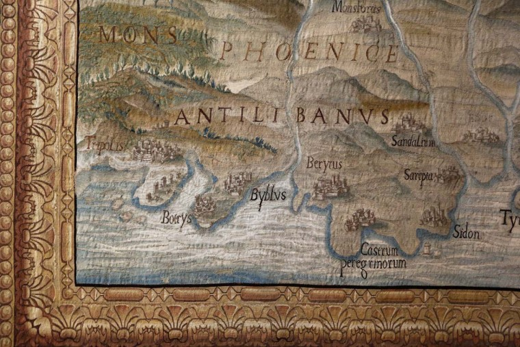 "A map tapestry is displayed at an exhibit in the Cathedral of St. John the Divine in New York, Wednesday, March 22, 2017. Experts at the cathedral just spent 16 years sprucing up its super-size wall hangings with a labor-intensive process that uses dental probes, tweezers and other tools. Now the historic house of worship is inviting the public to enjoy the fruits of its labors. An exhibit called ""The Barberini Tapestries, Scenes from the Life of Christ"" runs through June 25. (AP Photo/Seth Wenig)"