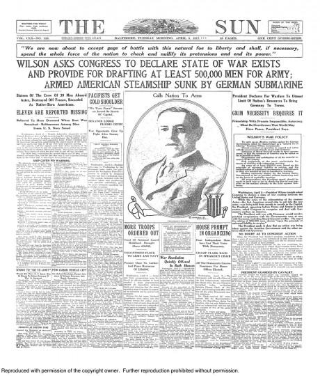 April 3 1917: Wilson Asks Congress to Declare War