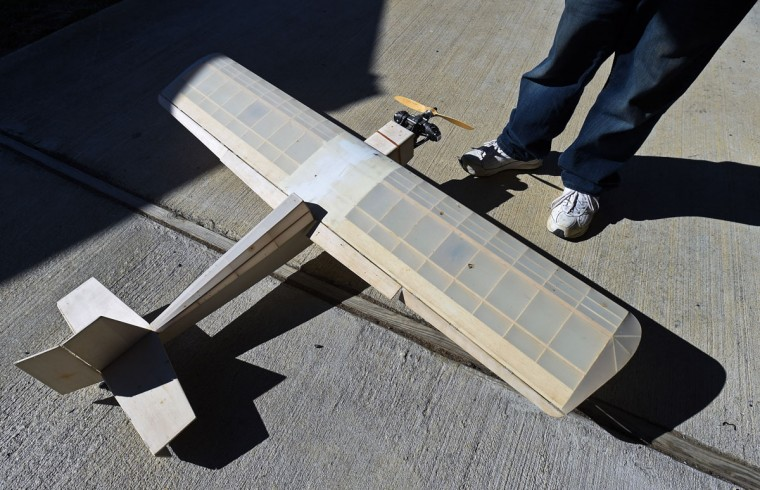 A finished but unpainted radio control model airplane. (Kenneth K. Lam/Baltimore Sun)