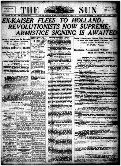 """November 11 1918: """"Ex-Kaiser Flees to Holland"""""""