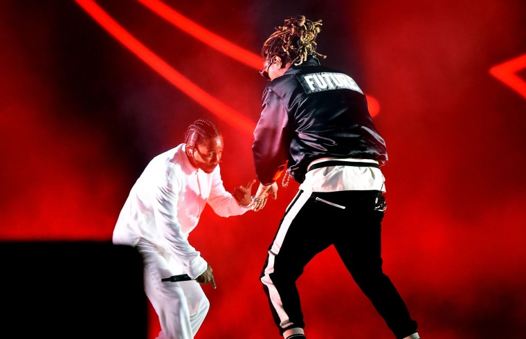 Rappers Kendrick Lamar and Future perform on the Coachella Stage during day 3 of the Coachella Valley Music And Arts Festival (Weekend 1) at the Empire Polo Club on April 16, 2017 in Indio, California. (Photo by Kevin Winter/Getty Images for Coachella)