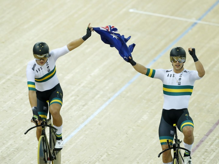 Australian Team celebrate after winning Men's Team Pursuit Final in 2017 UCI Track Cycling World Championships on Day 2 at Hong Kong Velodrome on April 13, 2017 in Hong Kong, Hong Kong. (Photo by Kevin Lee/Getty Images)