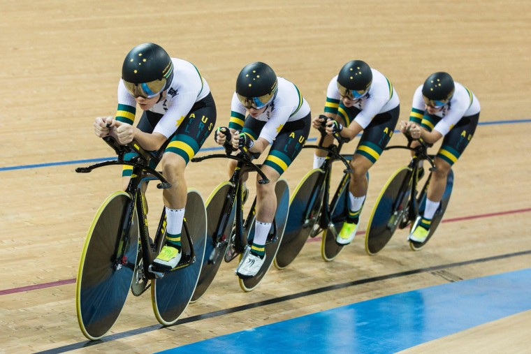 The Australia team competes in the Women's Team Pursuit Final at the Hong Kong Velodrome during the 2017 Track Cycling World Championships in Hong Kong on April 13, 2017. (Isaac Lawrence/AFP/Getty Images)