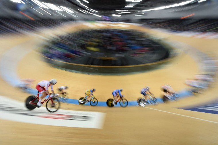 Competitors take part in the final of the men's scratch event at the Hong Kong Velodrome during the Track Cycling World Championships in Hong Kong on April 13, 2017. (Anthony Wallace/AFP/Getty Images)