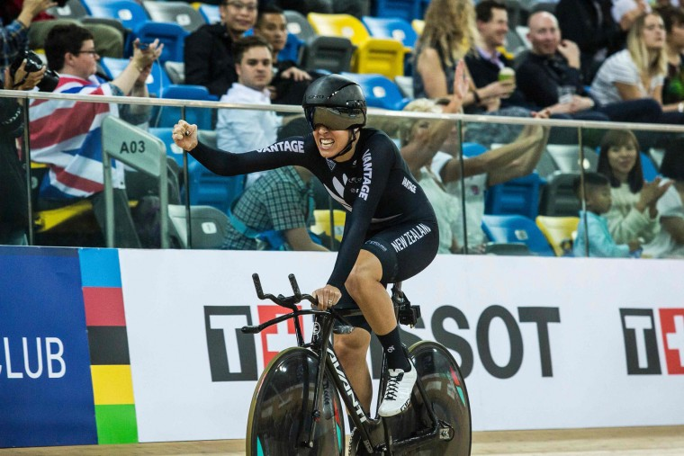 Rushlee Buchanan of New Zealand reacts after winning Bronze in the Women's Team Pursuit Final at the Hong Kong Velodrome during the 2017 Track Cycling World Championships in Hong Kong on April 13, 2017. (Isaac Lawrence/AFP/Getty Images)