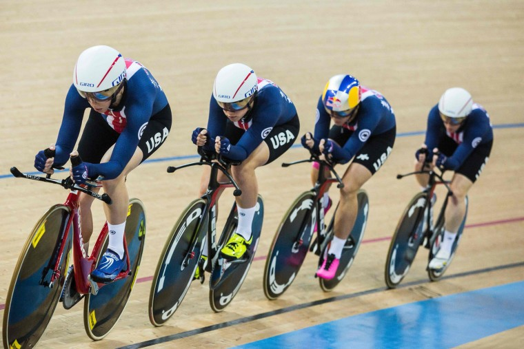 The United States team competes in the Women's Team Pursuit Final at the Hong Kong Velodrome during the 2017 Track Cycling World Championships in Hong Kong on April 13, 2017. (Isaac Lawrence/AFP/Getty Images)