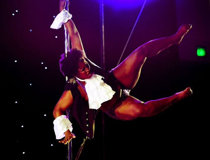 Ebony Nitro competes during the 2017 Pacific Pole Championships at the Convention Center in Los Angeles, California on April 8, 2017. Combining dance and acrobatics, originally began as entertainment in strip clubs, pole dancing soon became mainstream as a form of exercise and expression. Competitions are now held in countries throughout the world and has a participant level estimated at over 30,000 in the US. (Mark Ralston/AFP/Getty Images)