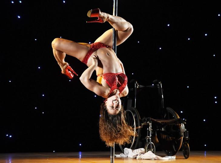 April Williams competes in the 2017 Pacific Pole Championships at the Convention Center in Los Angeles, California on April 8, 2017. Combining dance and acrobatics, originally began as entertainment in strip clubs, pole dancing soon became mainstream as a form of exercise and expression. Competitions are now held in countries throughout the world and has a participant level estimated at over 30,000 in the US. (Mark Ralston/AFP/Getty Images)