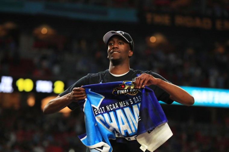 Nate Britt #0 of the North Carolina Tar Heels celebrates his teams win over the Gonzaga Bulldogs in the 2017 NCAA Men's Final Four National Championship game at University of Phoenix Stadium on April 3, 2017 in Glendale, Arizona. (Photo by Tom Pennington/Getty Images)