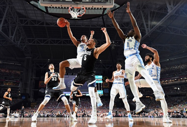 Kennedy Meeks #3 of the North Carolina Tar Heels competes for the ball with Nigel Williams-Goss #5 of the Gonzaga Bulldogs in the first half during the 2017 NCAA Men's Final Four National Championship game at University of Phoenix Stadium on April 3, 2017 in Glendale, Arizona. (Photo by Chris Steppig - Pool/NCAA Photos via Getty Images)