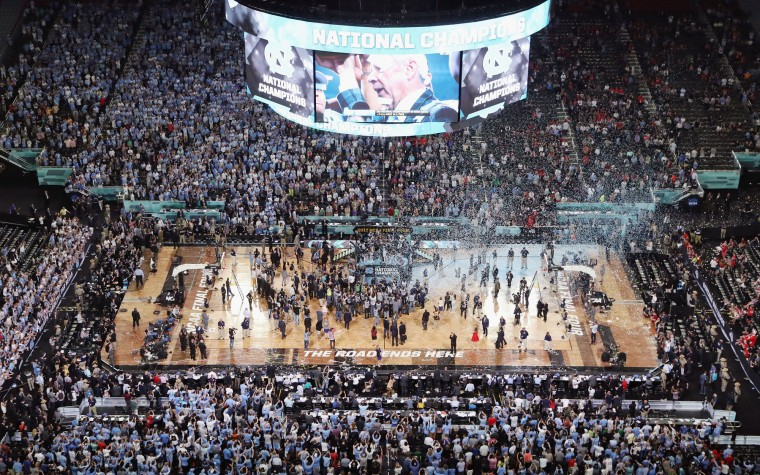 Confetti falls as the North Carolina Tar Heels celebrate after defeating the Gonzaga Bulldogs during the 2017 NCAA Men's Final Four National Championship game at University of Phoenix Stadium on April 3, 2017 in Glendale, Arizona. The Tar Heels defeated the Bulldogs 71-65. (Photo by Ronald Martinez/Getty Images)