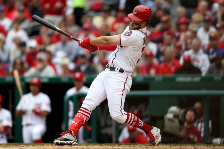 Bryce Harper #34 of the Washington Nationals hits a home run against the Miami Marlins in the sixth inning of the opening day game at Nationals Park on April 3, 2017 in Washington, DC. (Photo by Matt Hazlett/Getty Images)