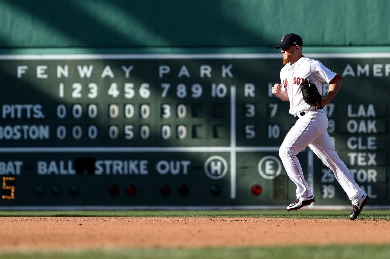 Craig Kimbrel #46 of the Boston Red Sox enters the game during the ninth inning of the opening day game against the Pittsburgh Pirates at Fenway Park on April 3, 2017 in Boston, Massachusetts. (Photo by Maddie Meyer/Getty Images)