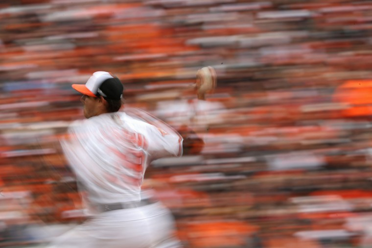 Starting pitcher Kevin Gausman #39 of the Baltimore Orioles works the third inning against the Toronto Blue Jays during their Opening Day game at Oriole Park at Camden Yards on April 3, 2017 in Baltimore, Maryland (Photo by Patrick Smith/Getty Images)