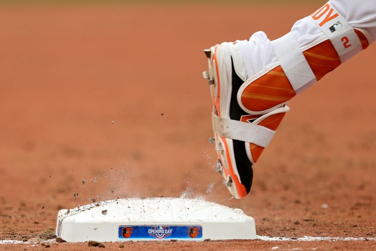 J.J. Hardy #2 of the Baltimore Orioles runs out first base as he is called out against the Toronto Blue Jays during their Opening Day game at Oriole Park at Camden Yards on April 3, 2017 in Baltimore, Maryland (Photo by Patrick Smith/Getty Images)