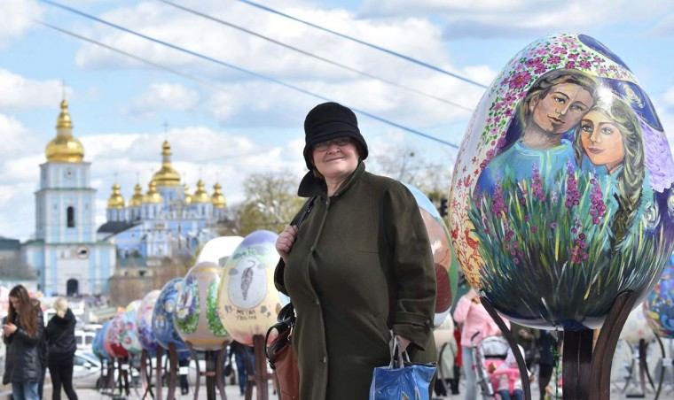 People look at huge Easter eggs as they walk in the open air festival in the center of Kiev on April 12, 2017. Some 500 traditional Ukrainian pysankas, painted Easter eggs, are presented in the center of Kiev before the celebration of the Easter, main holiday of the Orthodox church, on April 16. (SERGEI SUPINSKY/AFP/Getty Images)