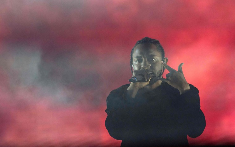 US hip hop singer Kendrick Lamar performs in Coachella Valley Music And Arts Festival on April 16, 2017, in Indio, California. (Valerie Macon/AFP/Getty Images)
