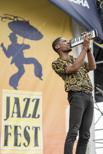 Jon Batiste performs at the New Orleans Jazz and Heritage Festival on Saturday, April 29, 2017, in New Orleans. (Amy Harris/Invision/AP)