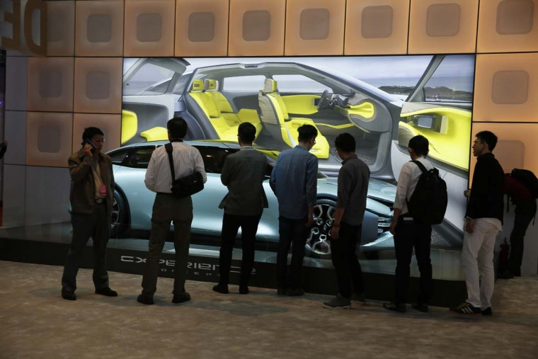 The Cexperience concept car from automaker Citreon is displayed during the Auto Shanghai 2017 show at the National Exhibition and Convention Center in Shanghai, China, Wednesday, April 19, 2017. Models on display at Auto Shanghai 2017, the global industry's biggest marketing event of the year, reflect the conflict between Beijing's ambitions to promote environmentally friendly propulsion and Chinese consumers' love of hulking, fuel-hungry SUVs. (AP Photo/Ng Han Guan)