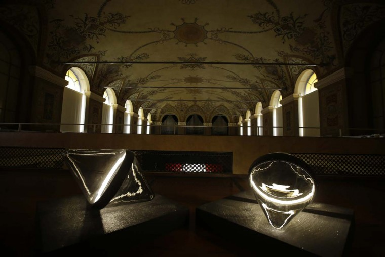 The lamps 'Flow', a creation by Israeli born artist Dan Yeffet are displayed at the Milan Institute of the Blind, part of the Design Fair exhibition, in Milan, Italy, Wednesday, April 5, 2017. (AP Photo/Luca Bruno)