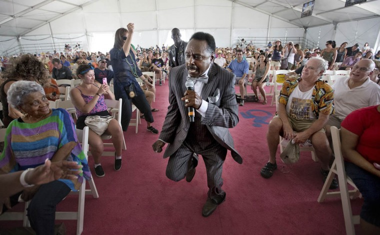 Leo Jackson and the Melody Clouds perform at the Gospel Tent during the New Orleans Jazz and Heritage Festival at the Fairgrounds, Friday, April 25, 2017. (Ted Jackson/NOLA.com The Times-Picayune via AP)
