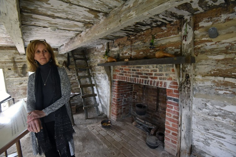 Hollywood, Md--4/19/17--Nancy Easterling, executive director of Sotterley Plantation, inside the Slave Cabin Exhibit that will be dedicated to the memory of Agnes Kane Callum on Friday. Kim Hairston/Baltimore Sun.