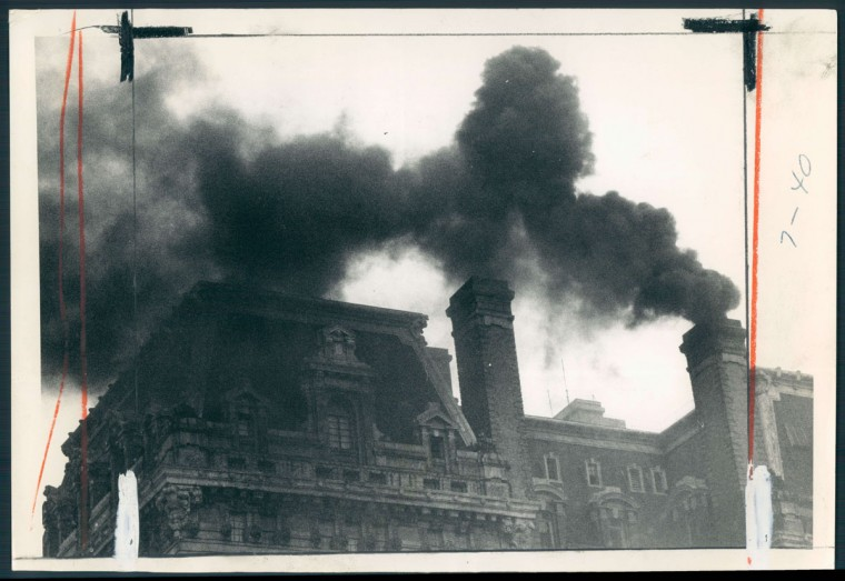 Smoke rises from the chimneys of Baltimore's famed Belvedere Hotel in this photo dated September 29, 1971. (Baltimore Sun archives)