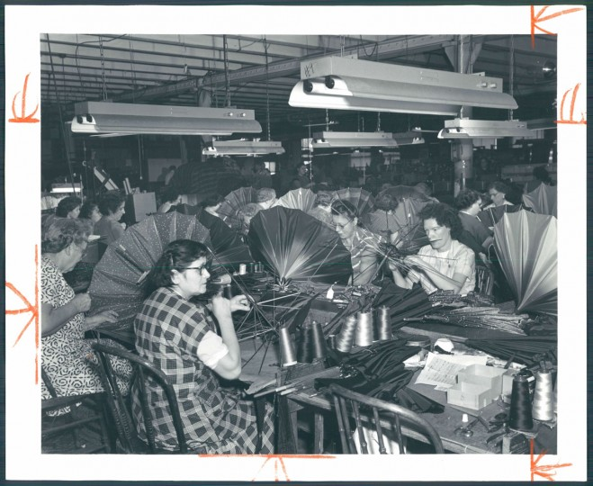 Making umbrellas at Polan Katz & Co., December 13, 1953. (Baltimore Sun)