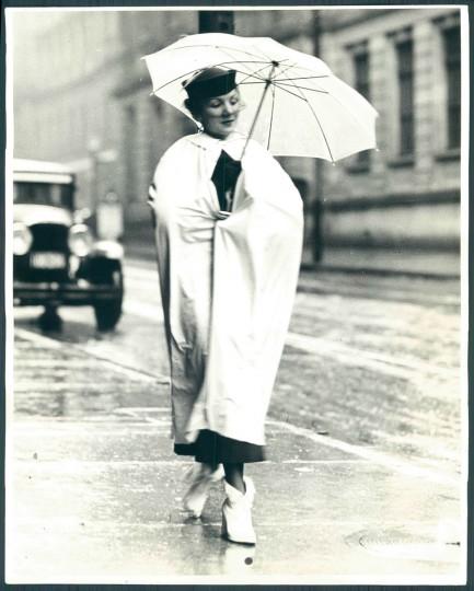 Woman with umbrella in Baltimore, May 5, 1936. (Baltimore Sun)