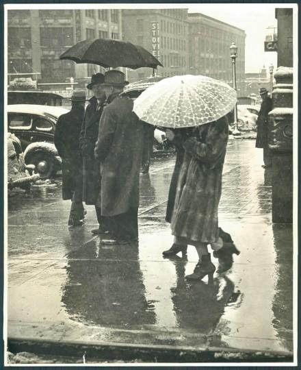 Umbrellas seen in Baltimore, April 9, 1938. (Baltimore Sun)