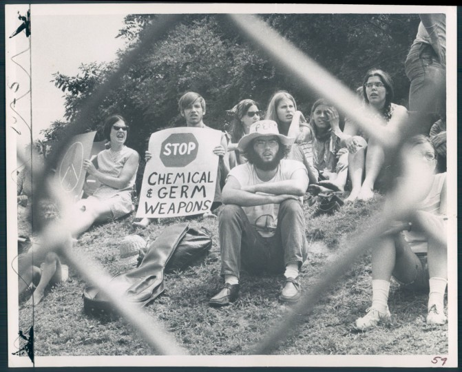 Demonstrators protest chemical weapons testing at Edgewood Arsenal in photo dated 1970. (Baltimore Sun)