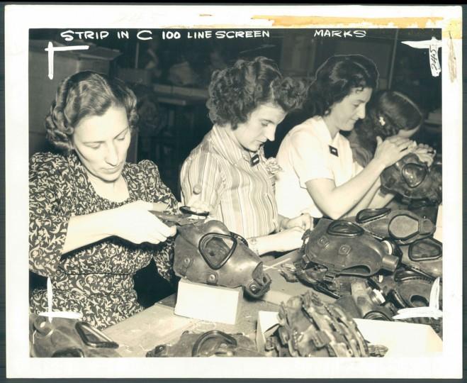 Gas mask manufacturing at Edgewood Arsenal, photo dated December 29, 1940. (Baltimore Sun)