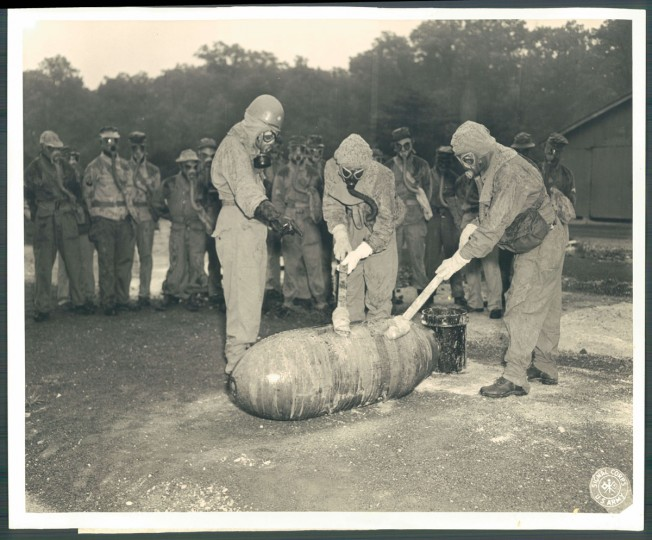 Weapons testing at Edgewood Arsenal. Photo dated August 16, 1946. (Baltimore Sun).