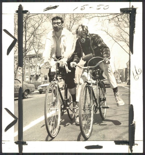 Riding bikes with gas masks on in photo dated April 19, 1970. (Baltimore Sun archives)