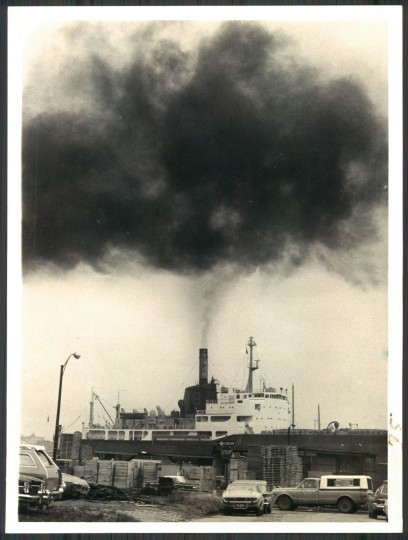 Baltimore smokestack in photo dated March 20, 1974. (Baltimore Sun archives)